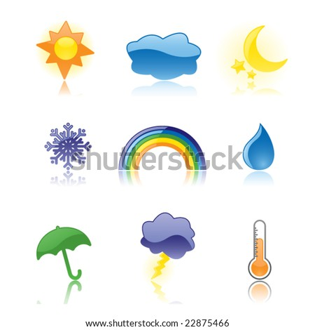 Nine glossy weather icons, reflected on a white background. Perfect for rain or shine! - stock vector