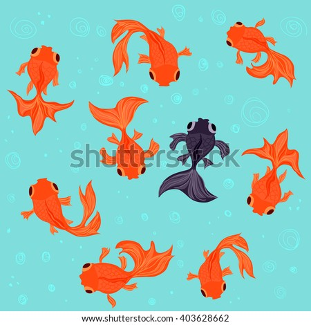 Nine goldfish swimming in a pond. Vector illustration.