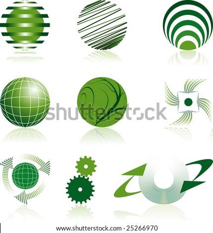 nine green corporate logos - stock vector