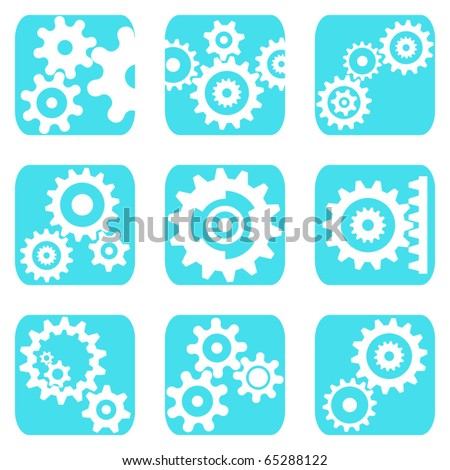 Nine icons with different wheels - stock vector