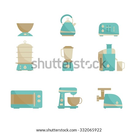 Nine kitchen appliances set. Simple flat design. Vector illustration - stock vector