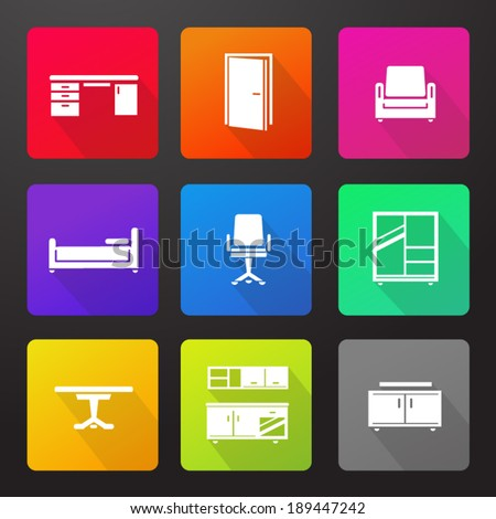 Modern Furniture Icon nine modern furniture flat shadow icons stock vector 189447242