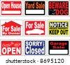 Nine Notice Signs - stock vector