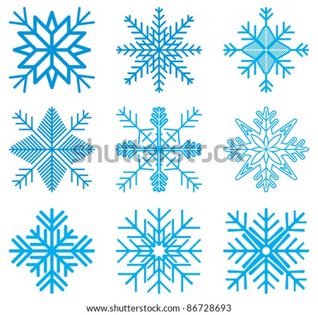Nine original vector snow-flakes - stock vector