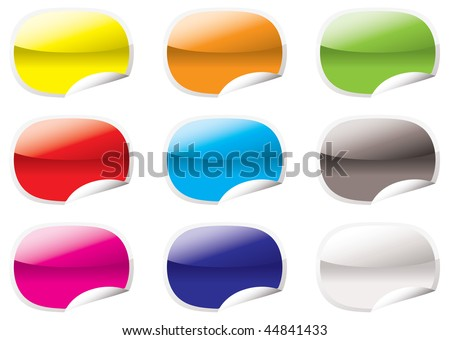 Nine oval shaped icons with the corner curled up - stock vector