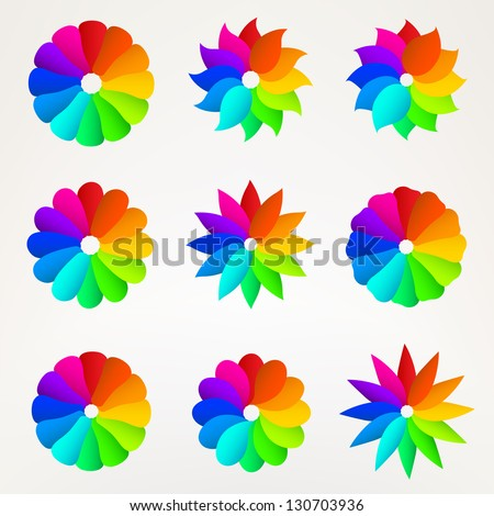 Nine Rainbow Colored Flower Silhouette Set Of Design Elements Eps10 Vector Clip Art