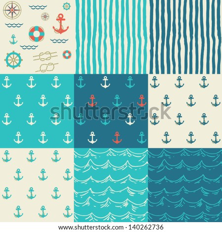 Nine seamless patterns of marine symbols. Use to create quilting patches or seamless backgrounds for various craft projects. - stock vector