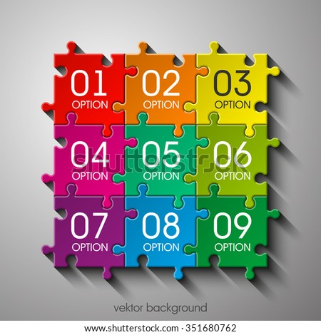 Nine sided 3d puzzle presentation infographic template with explanatory text field for business statistics - stock vector