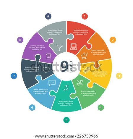 Nine sided, numbered flat rainbow spectrum colored puzzle presentation infographic chart with explanatory text field isolated on white background. Vector graphic template. - stock vector
