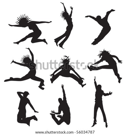 nine silhouettes of jumping characters