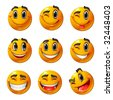 Nine smiling faces, they all are happy and laughing. Vector smileys. - stock photo