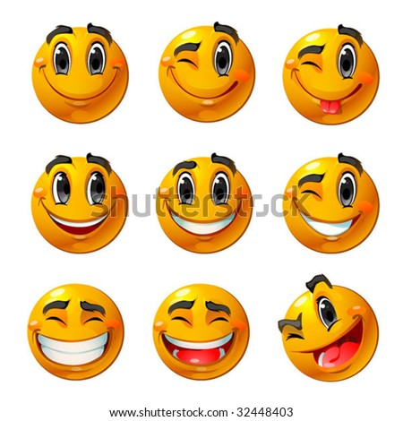 Nine smiling faces, they all are happy and laughing. Vector smileys.