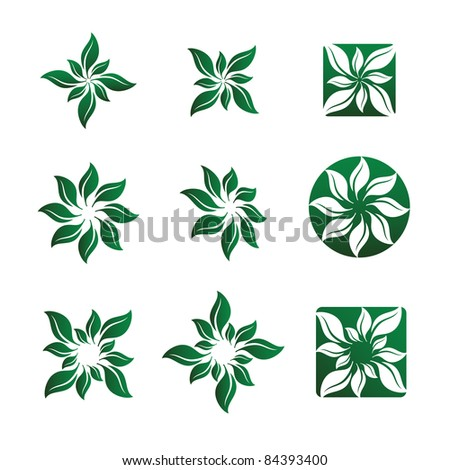 Nine Various Leaf and Flower Vector Illustrations. - stock vector