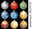 nine vector different christmas balls - stock vector