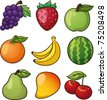 Nine vector fruits. Vector illustration with simple gradients. All elements in separate layers for easy editing. - stock vector