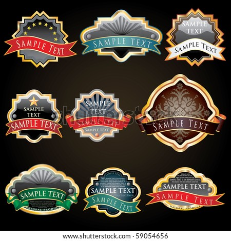 nine vector labels for various products like food and beverage - stock vector