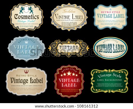 nine vintage vector labels with sample text - stock vector