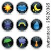 Nine weather icons on glossy black buttons - stock vector