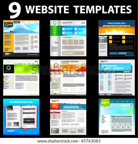 Nine website templates. First set. - stock vector