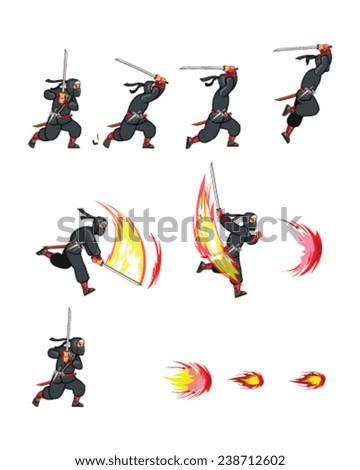 Ninja Attack Game Sprite - stock vector