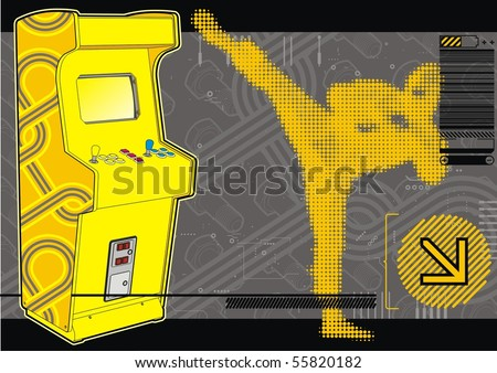 Ninja beat-em-up fighting arcade in yellow & grey. - stock vector