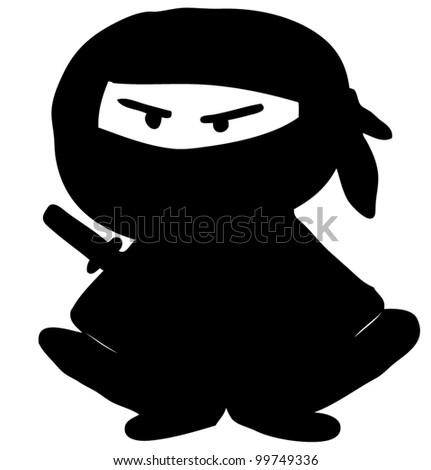 Ninja cartoon character. Hand drawing sketch vector illustration - stock vector