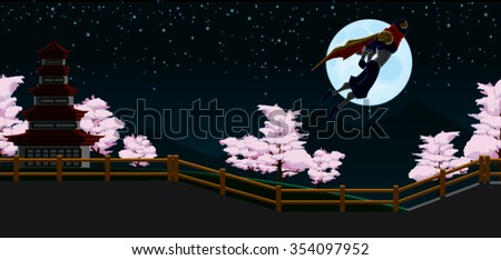 Ninja Flying Red Cape in Japan Night Background with fence, pink trees, moon and sky Cartoon Vector - stock vector