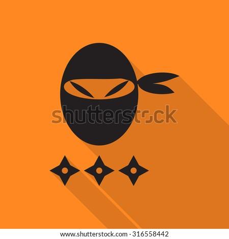 ninja icon with long shadow. - stock vector