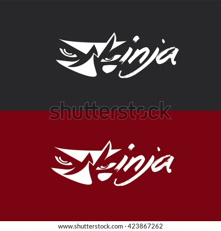 stock-vector-ninja-logo-423867262 Japanese Lettering Template on style free, cherry blossom flowers, google slides, fan craft, hand fans, themed powerpoint, dragon tattoo,