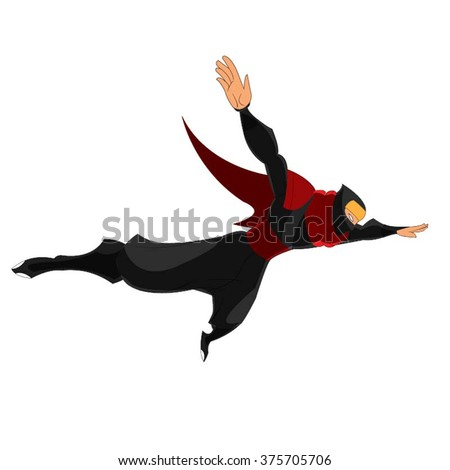 Ninja Samurai Flying In Air Hands Open Cartoon Red Black Vector - stock vector