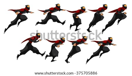 Ninja Samurai Running Sequence - 10 Set of Red Blue Cartoon Vector - stock vector