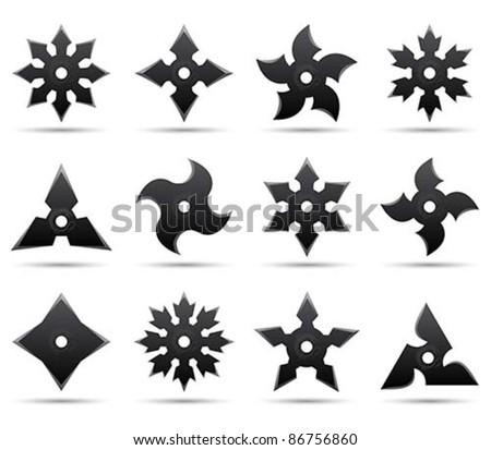 ninja stars - stock vector