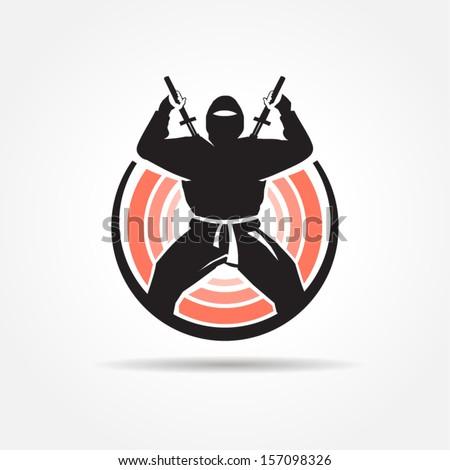 ninja symbol emblem - stock vector
