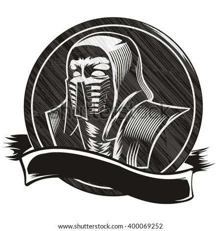 Ninja, vector drawing, logo, hood, killer