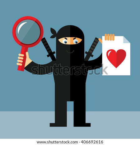 Ninja with magnifier glass and heart icon. Flat style vector illustration.  - stock vector