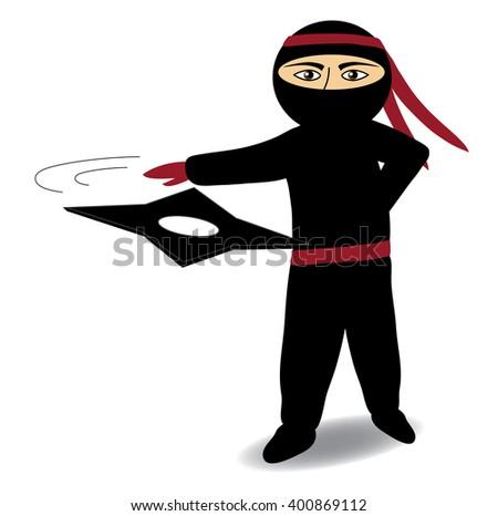 Ninja with shuriken, ninja attacking with star vector - stock vector