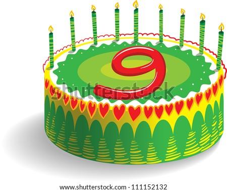 Ninth Birthday Cake - stock vector