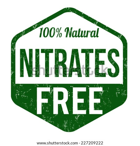 Nitrates free grunge rubber stamp on white background, vector illustration - stock vector