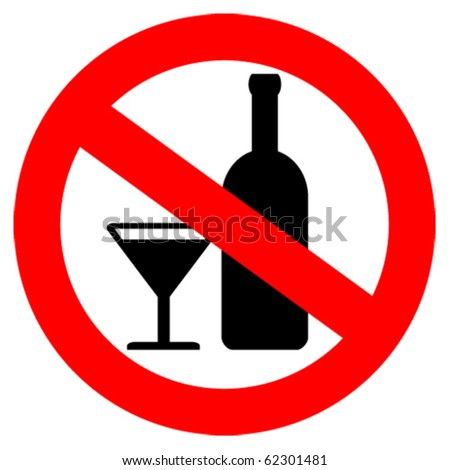 No alcohol sign - stock vector