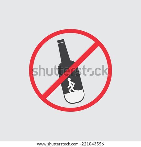 No alcohol sign icon - stock vector