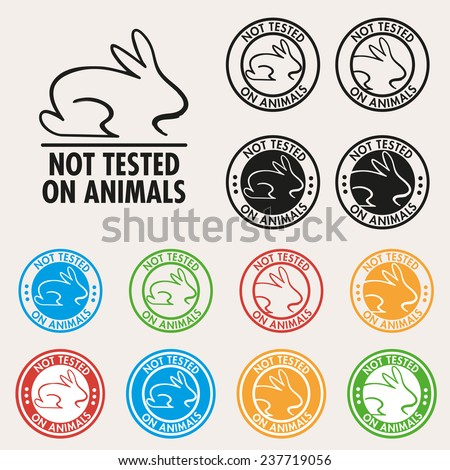No animals testing sign icon. Not tested symbol. Round colourful  - stock vector