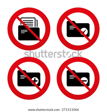 No, Ban or Stop signs. Accounting binders icons. Add or remove document folder symbol. Bookkeeping management with checkbox. Prohibition forbidden red symbols. Vector - stock vector