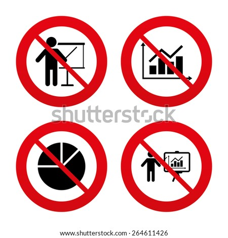 No, Ban or Stop signs. Diagram graph Pie chart icon. Presentation billboard symbol. Supply and demand. Man standing with pointer. Prohibition forbidden red symbols. Vector - stock vector