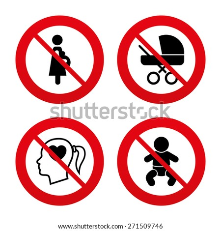 No, Ban or Stop signs. Maternity icons. Baby infant, pregnancy and buggy signs. Baby carriage pram stroller symbols. Head with heart. Prohibition forbidden red symbols. Vector - stock vector