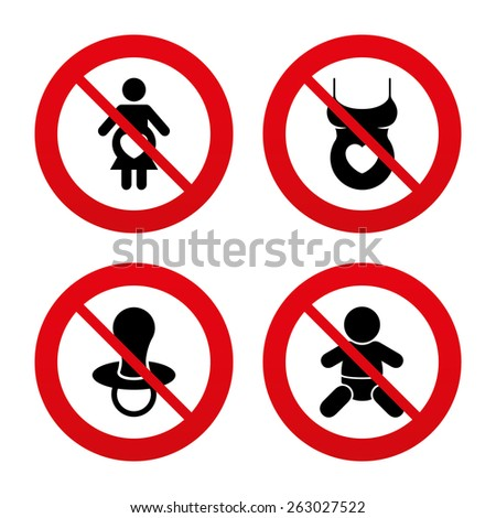No, Ban or Stop signs. Maternity icons. Baby infant, pregnancy and dummy signs. Child pacifier symbols. Shirt with heart. Prohibition forbidden red symbols. Vector - stock vector