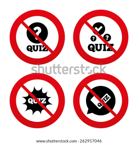 No, Ban or Stop signs. Quiz icons. Speech bubble with check mark symbol. Explosion boom sign. Prohibition forbidden red symbols. Vector - stock vector