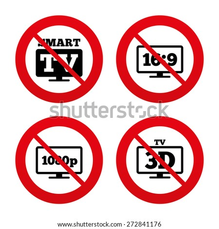 No, Ban or Stop signs. Smart TV mode icon. Aspect ratio 16:9 widescreen symbol. Full hd 1080p resolution. 3D Television sign. Prohibition forbidden red symbols. Vector - stock vector