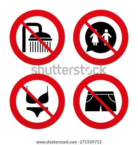 No, Ban or Stop signs. Swimming pool icons. Shower water drops and swimwear symbols. WC Toilet speech bubble sign. Trunks and women underwear. Prohibition forbidden red symbols. Vector - stock vector
