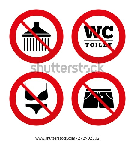 No, Ban or Stop signs. Swimming pool icons. Shower water drops and swimwear symbols. WC Toilet sign. Trunks and women underwear. Prohibition forbidden red symbols. Vector - stock vector