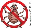 No Bed Bugs! Cute illustration of bed bug in a prohibited sign. - stock photo